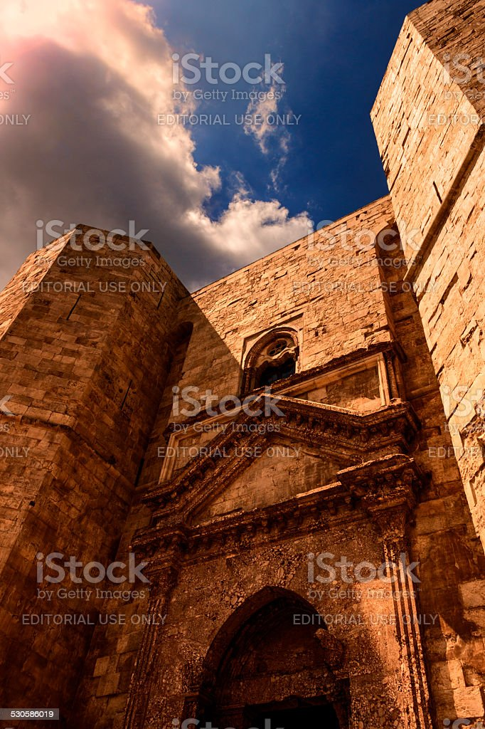 ARCHITECTURE AND BUILDINGS.Stones of Apulia.Castel del Monte: the main facade.-ITALY(Andria)- stock photo