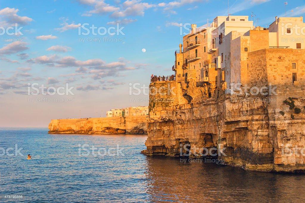 ARCHITECTURE AND BUILDINGS.Stones of Apulia.Polignano a Mare: panoramic view .-ITALY(Bari)- stock photo