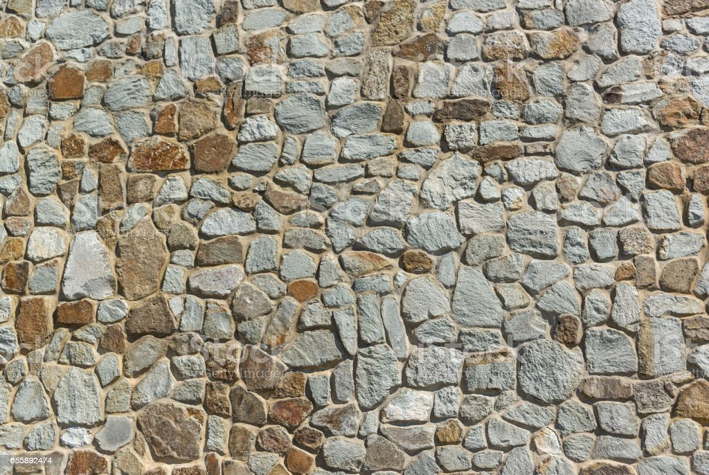 Built from large natural stone limestone wall. Background, texture,...