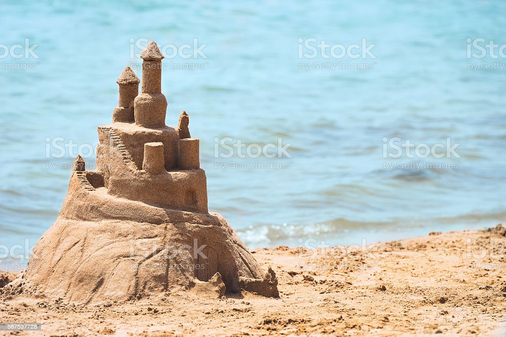 Built House sand castle stock photo