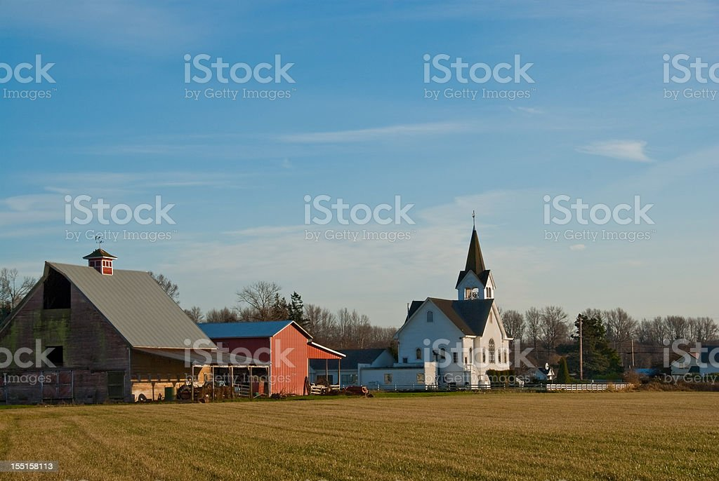 Historic Fir Conway Lutheran Church and Old Red Barn stock photo