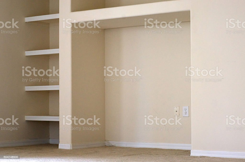 built in shelves and cubby stock photo