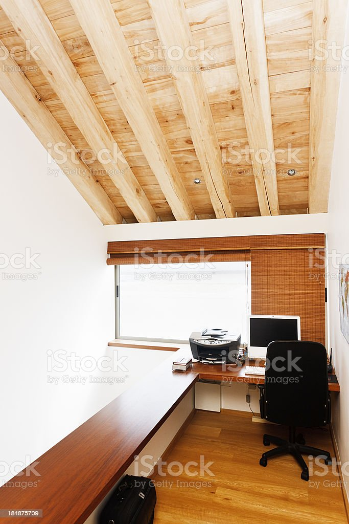 Built-in mezzanine level study in home royalty-free stock photo