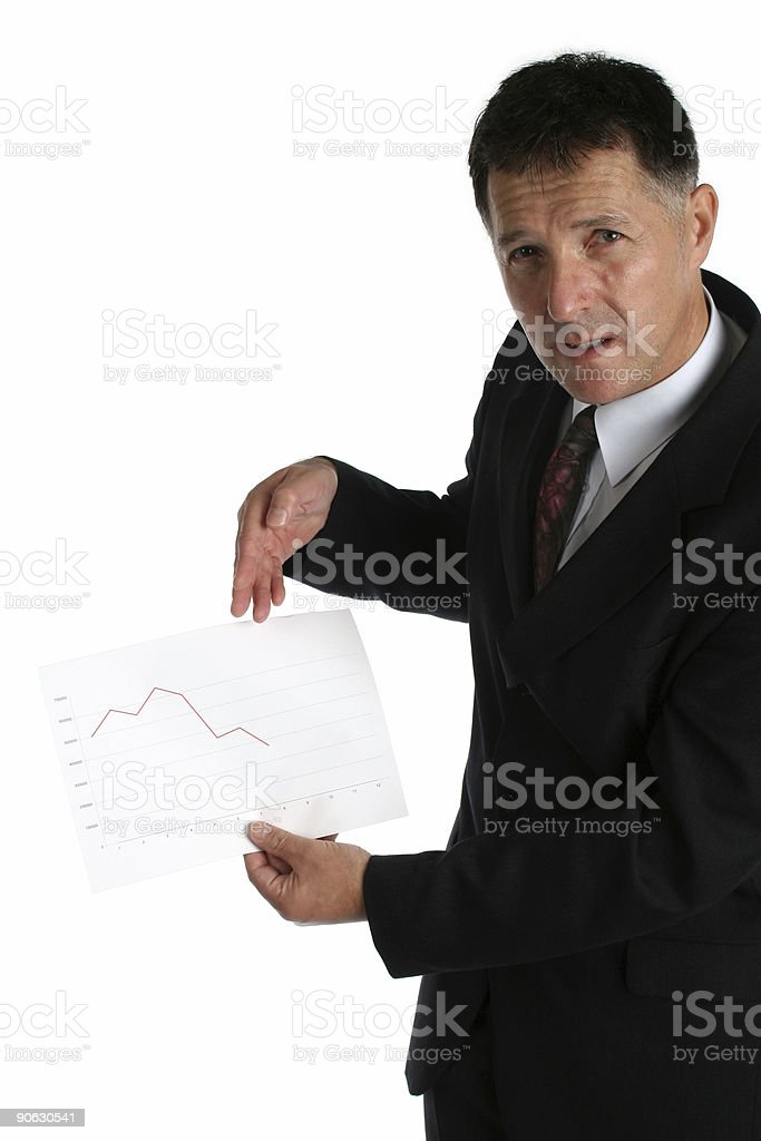 Buisness man showing bad results stock photo