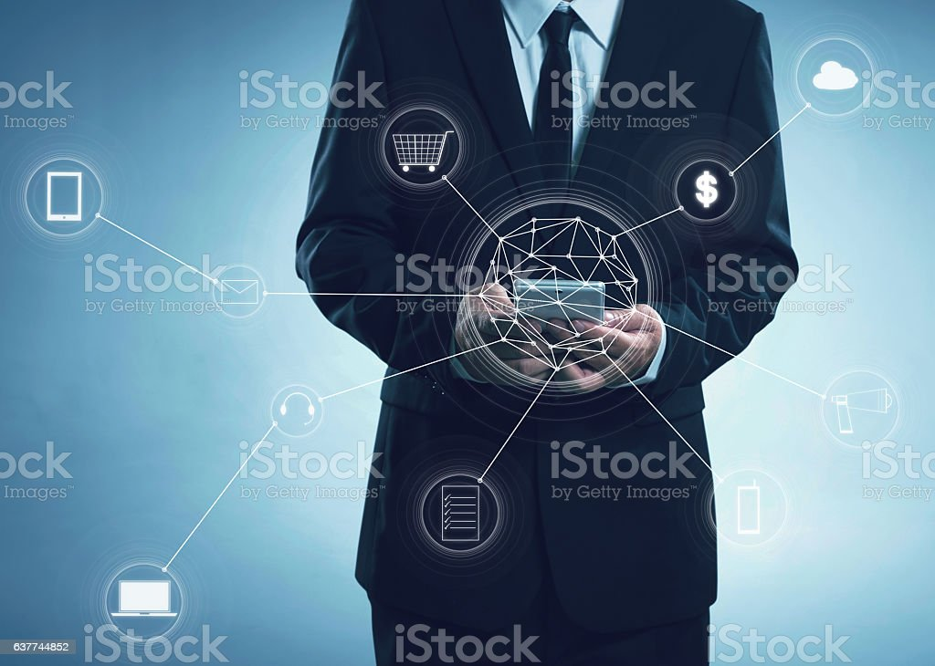 Buisness men and network connection concept stock photo