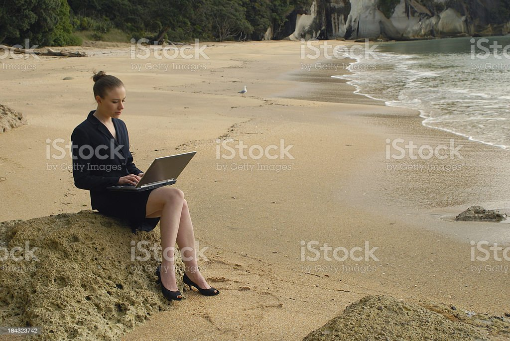 Buisness on the beach royalty-free stock photo