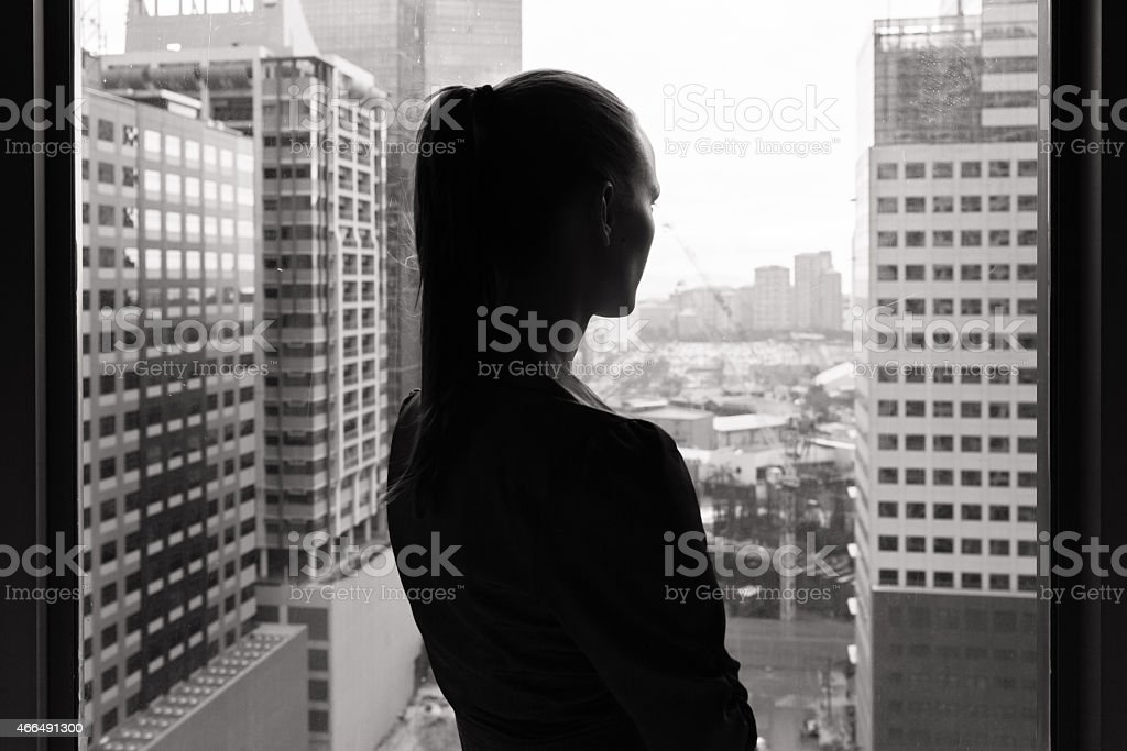 Buisness woman in the city stock photo
