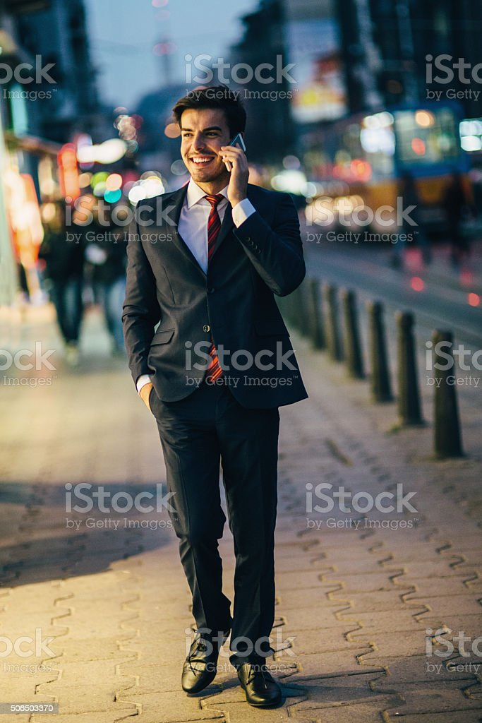 Buisnessman Talking On The Phone stock photo