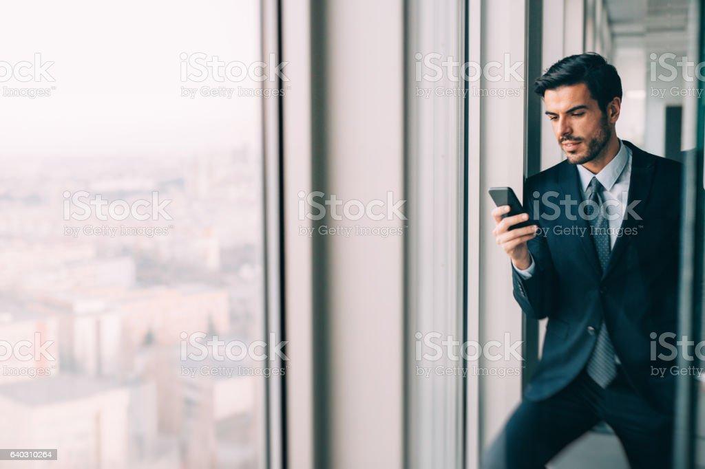 Buisnessman Texting On The Phone stock photo