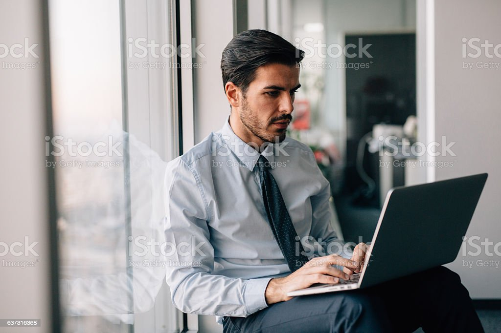 Buisnessman Using Laptop stock photo