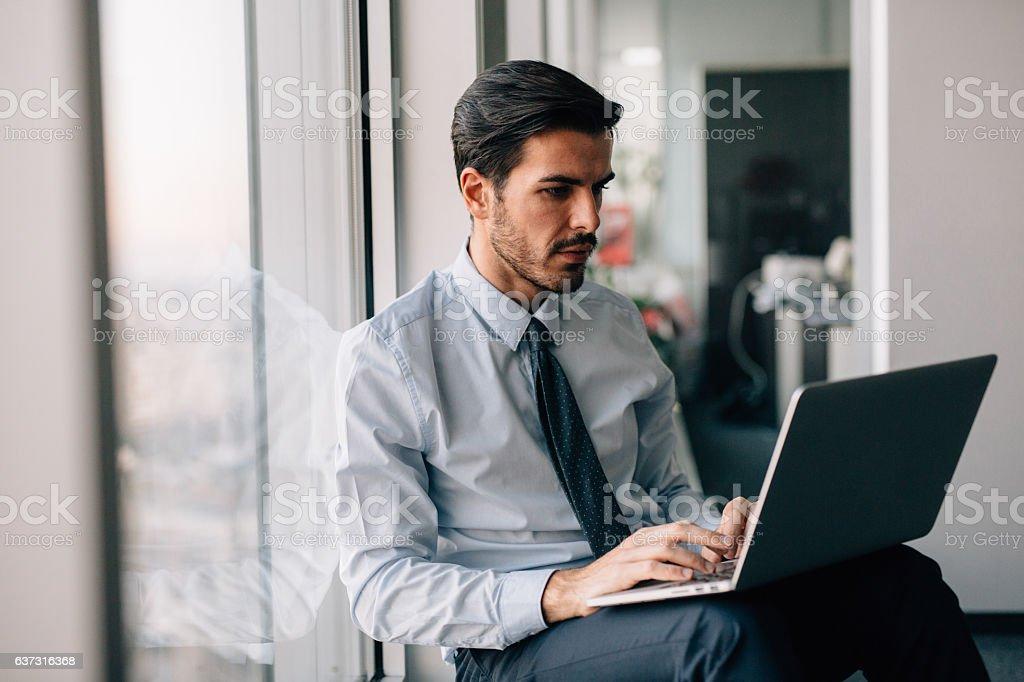 Buisnessman Using Laptop stock photo