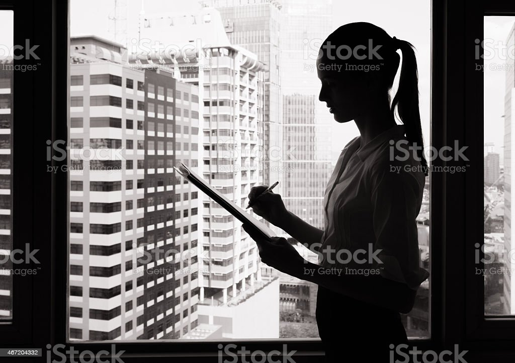 buissness woman planing stock photo