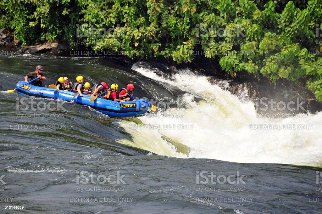 Bujagali Falls, Uganda - rafters stock photo