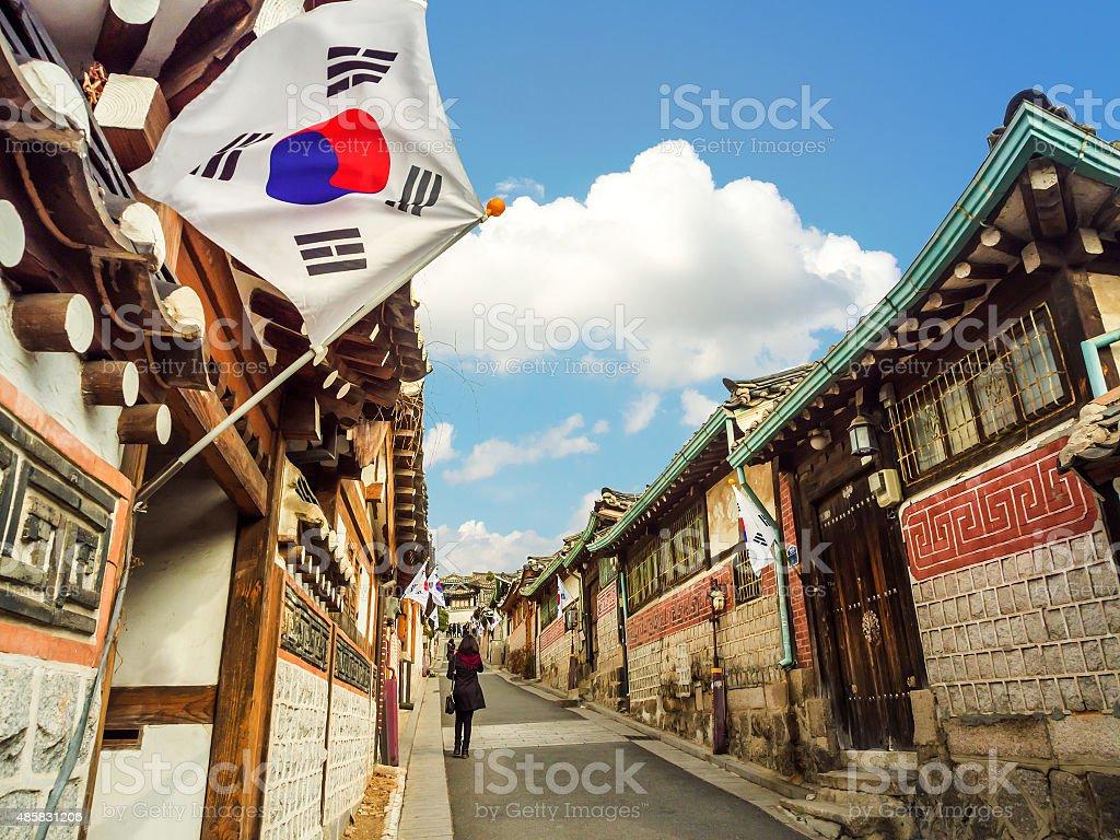 Bukchon Hanok Village in Seoul, South Korea. stock photo