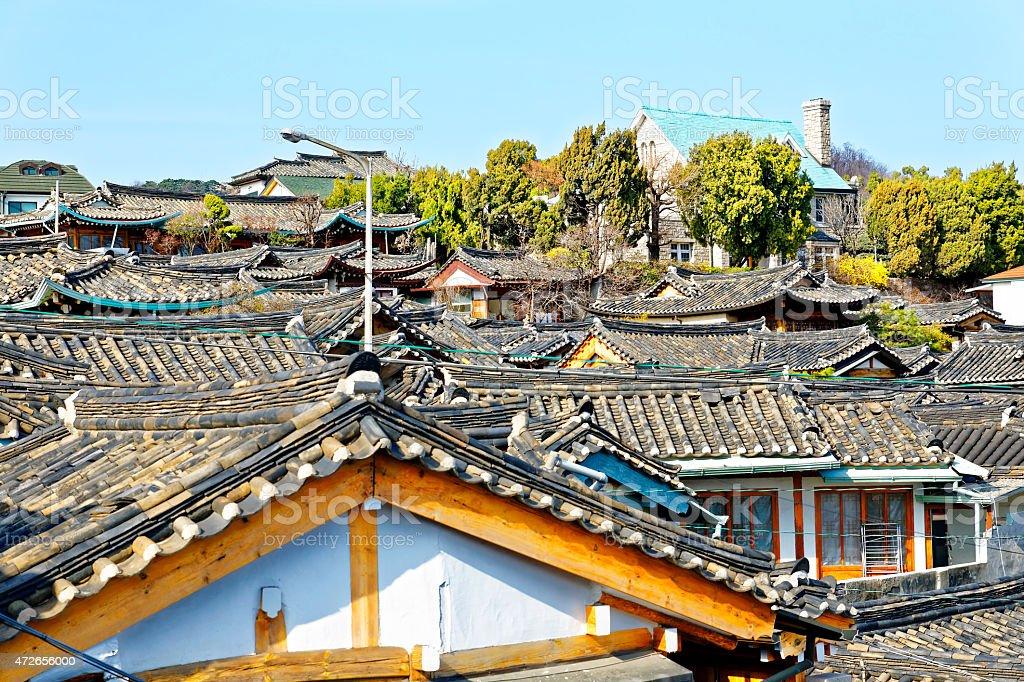 Bukchon Hanok Village,Traditional Korean style stock photo
