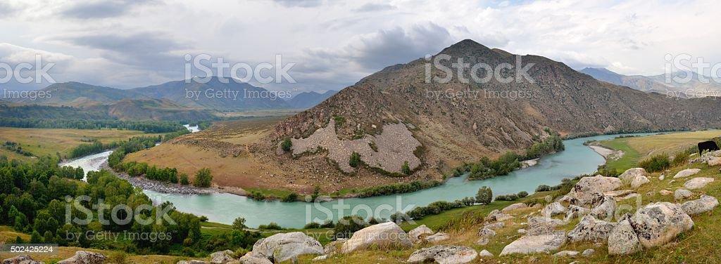 Bukhtarma River stock photo