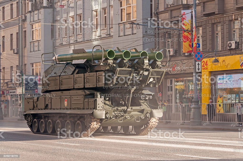 Buk-M2 self-propelled missile system moves on parade stock photo