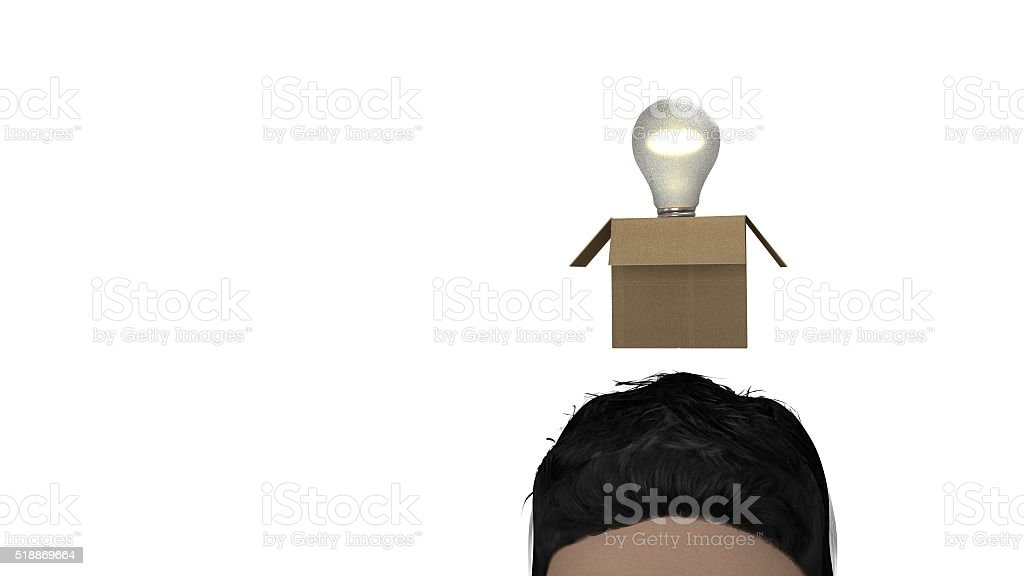 Bulb idea out of the box 3d illustration stock photo
