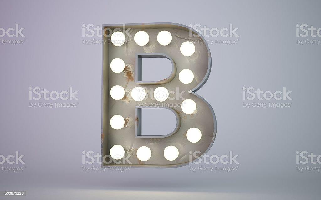 bulb light text element B stock photo