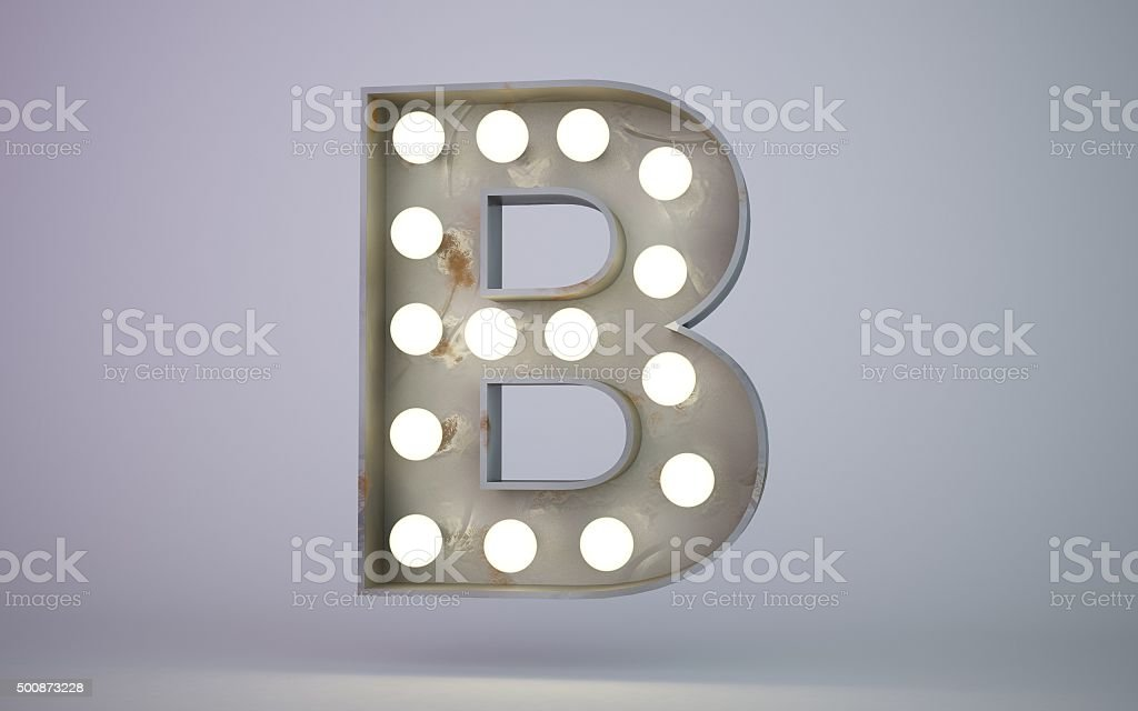 bulb light text element B stock photo