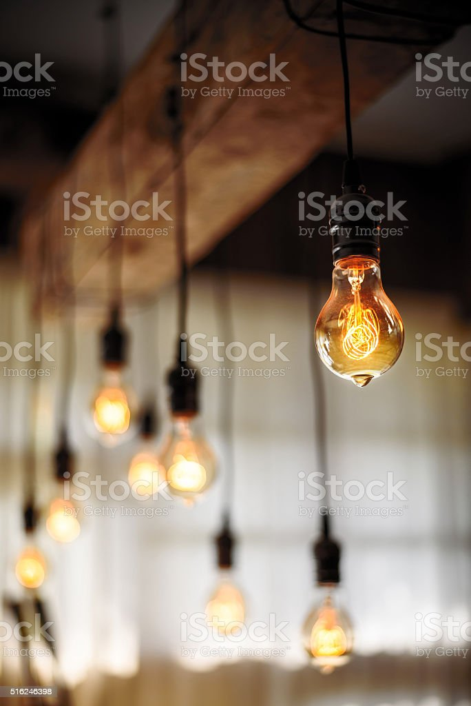 Bulb Lighting interior decor stock photo