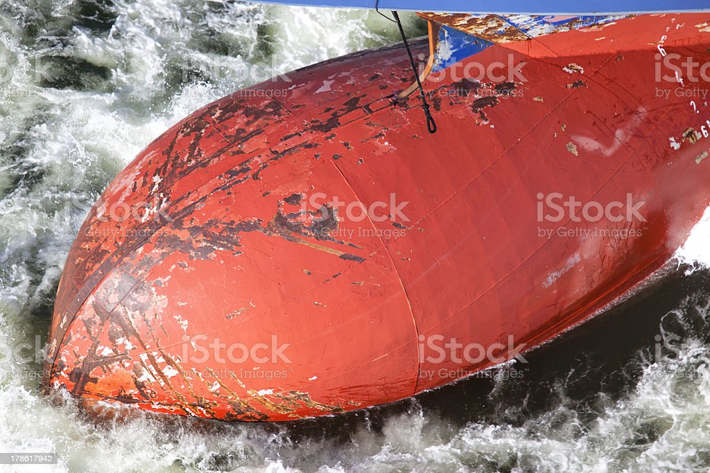 Bulb of a freight vessel stock photo