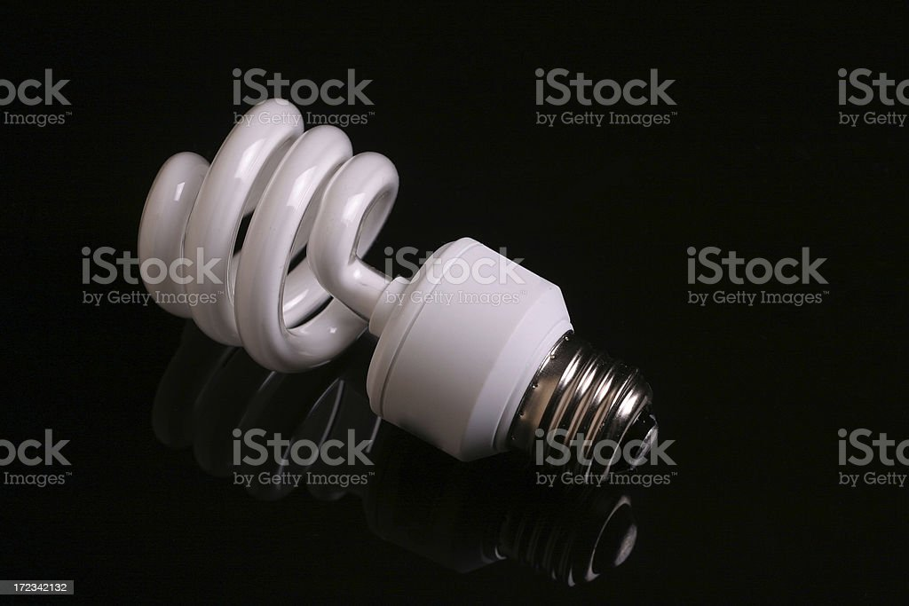 CFL bulb on black royalty-free stock photo