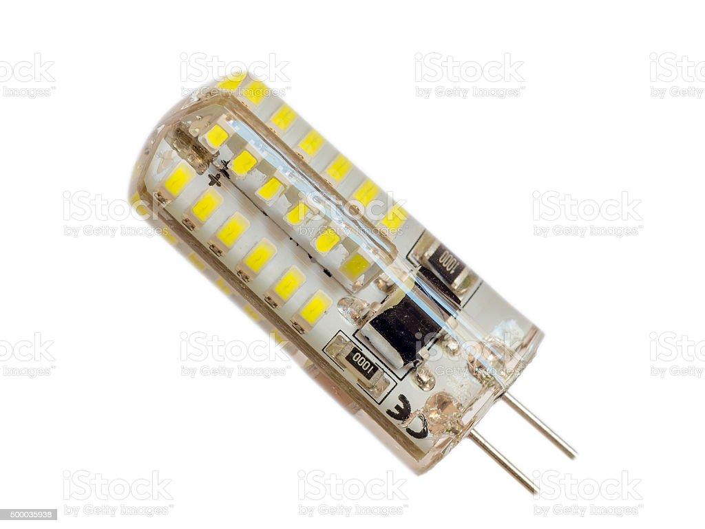 LED bulb on white background stock photo