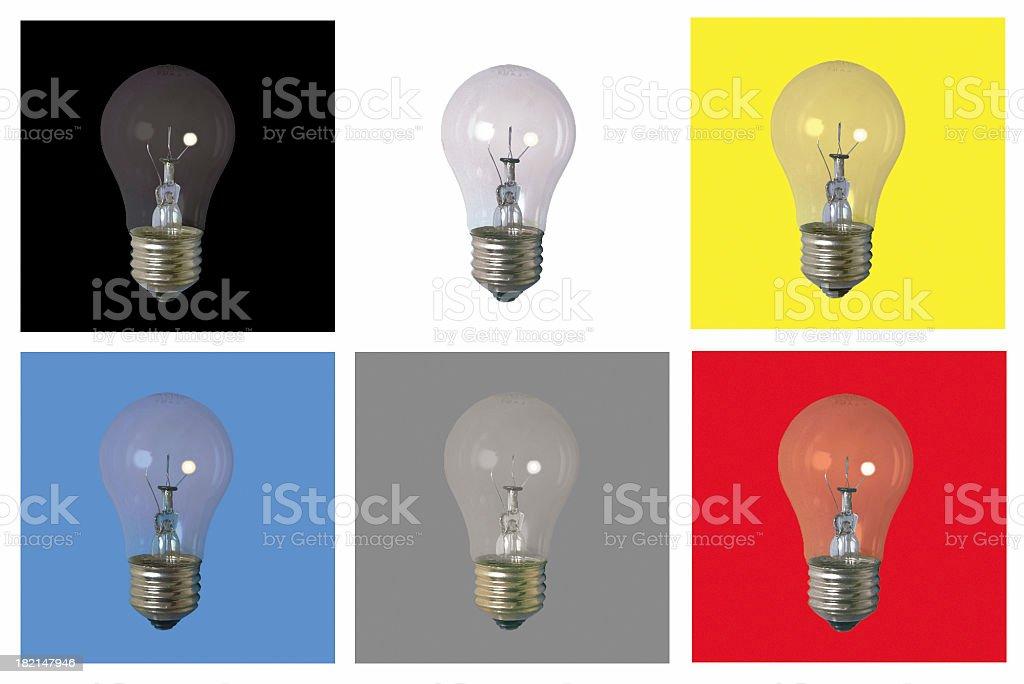 6 Bulbs on backgrounds stock photo