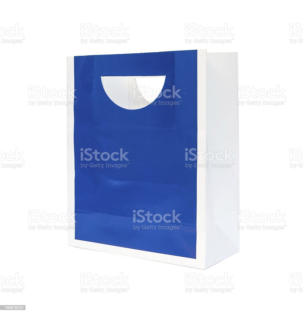 Bule paper shopping bag, Isolated royalty-free stock photo
