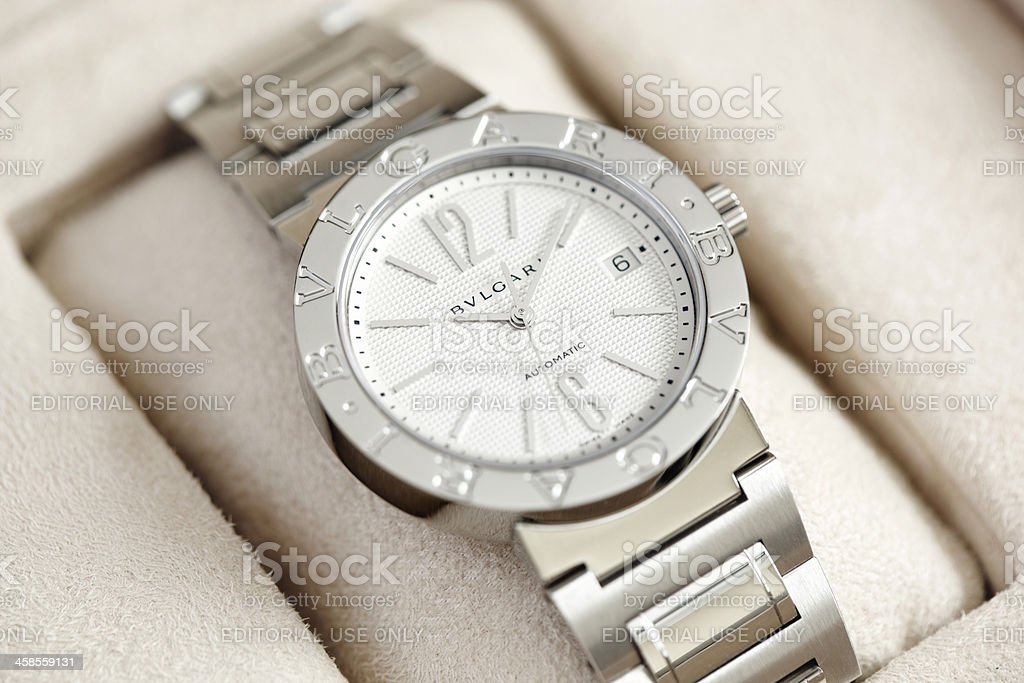 Bulgari men's wristwatch stock photo