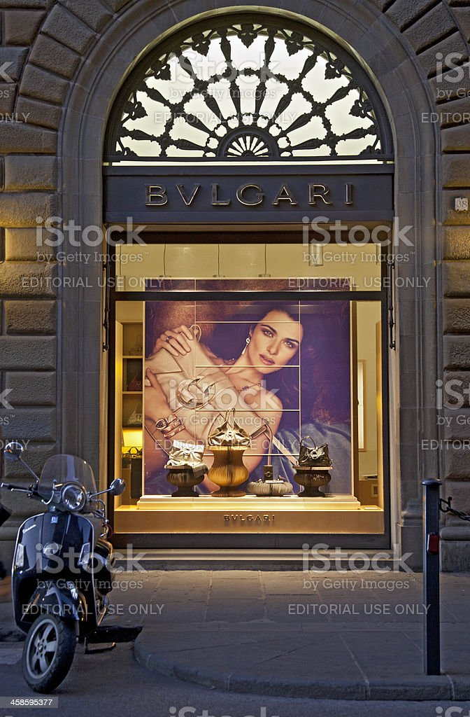 Bulgari shop window at night, Florence, Italy stock photo