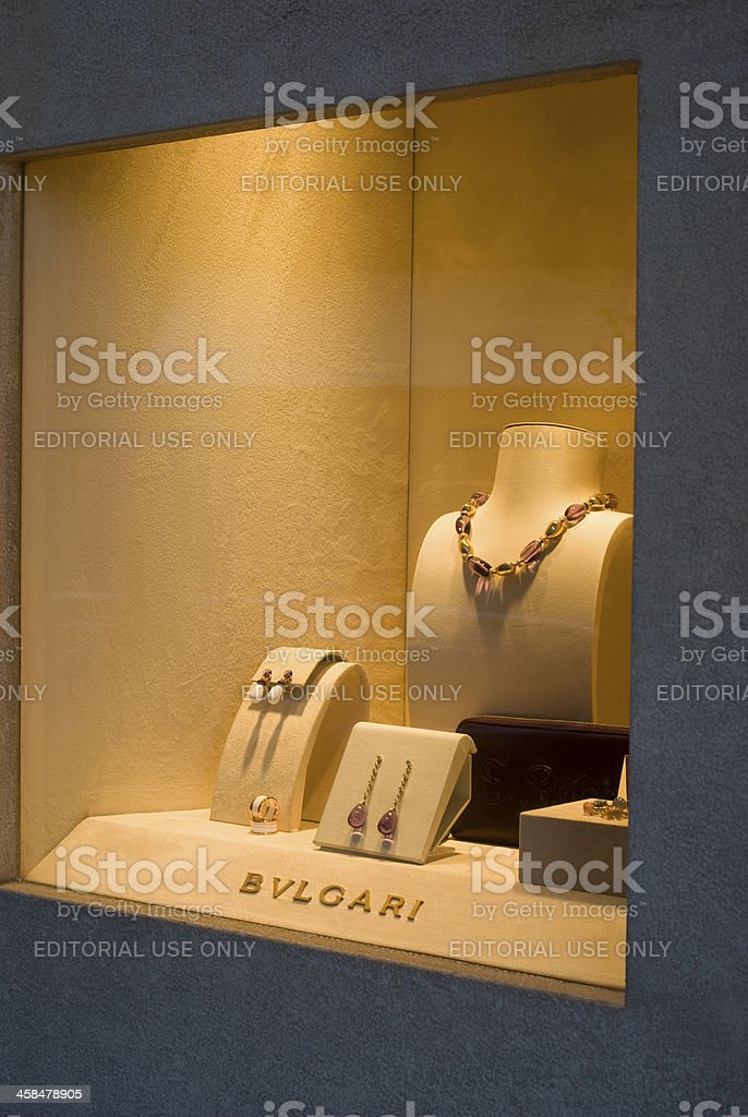 Bulgari shop window stock photo