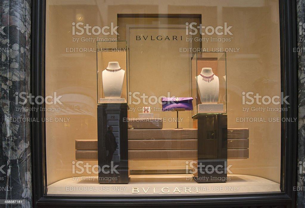 Bulgari window display in Via dei Condotti, Rome stock photo