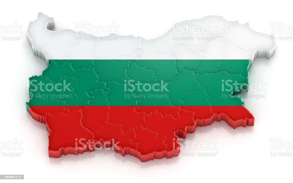 Bulgaria map with flag stock photo