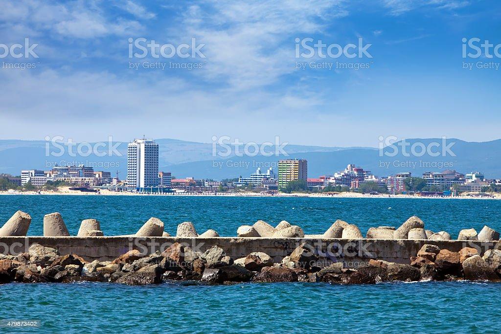 Bulgaria. Nesebr.  modern part of  city and a dam breakwater stock photo