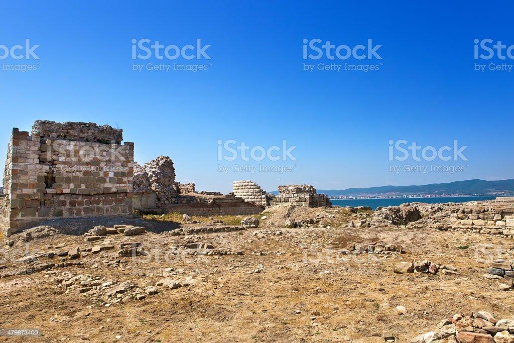 Bulgaria. Nesebr. Ruins of ancient church stock photo