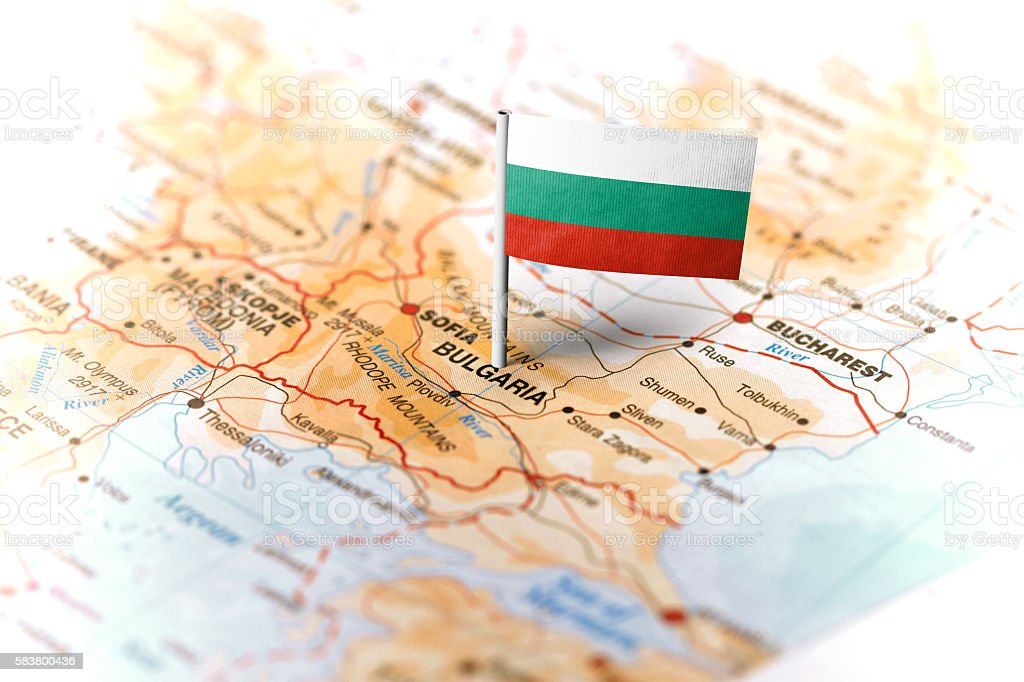 Bulgaria pinned on the map with flag stock photo
