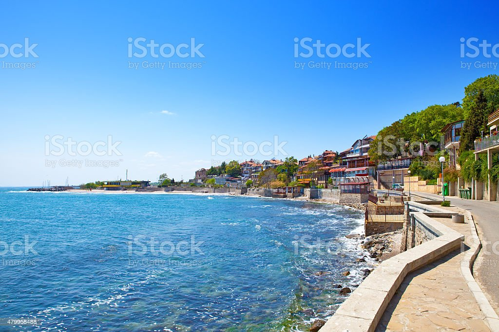 Bulgaria. Quay in  city of Nesebr. An old part stock photo