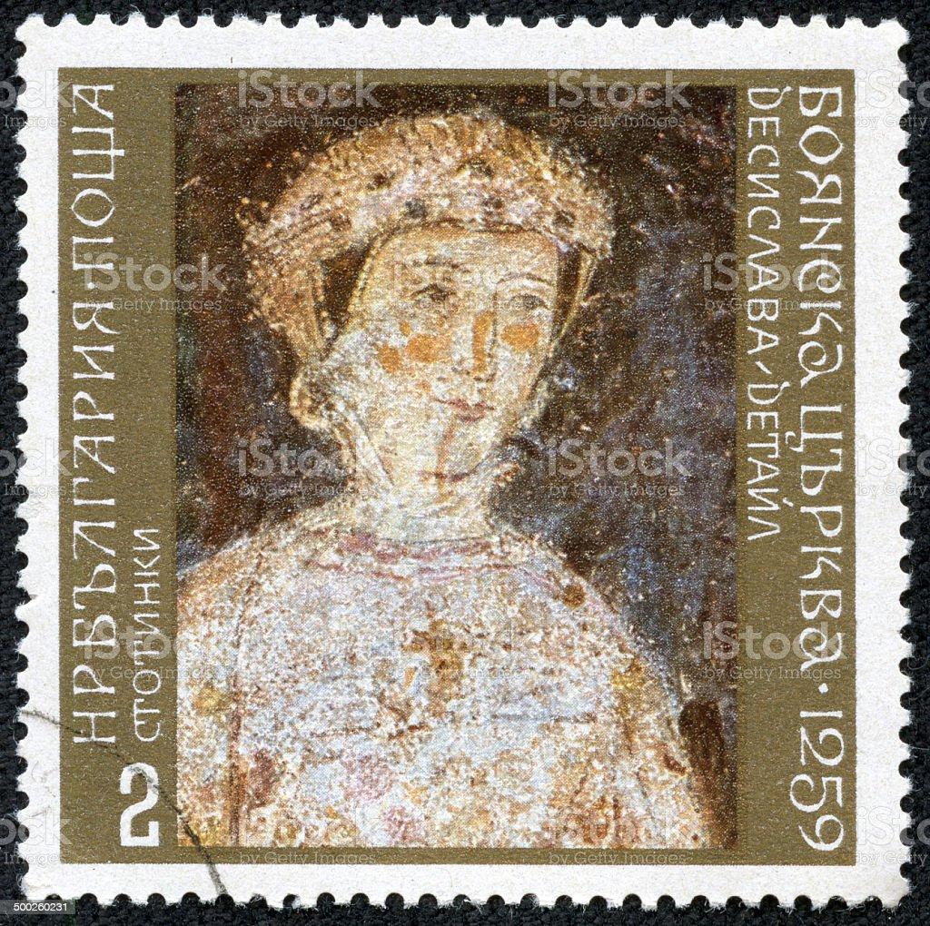 Bulgaria Stamp shows the portrait of a Dessislava stock photo