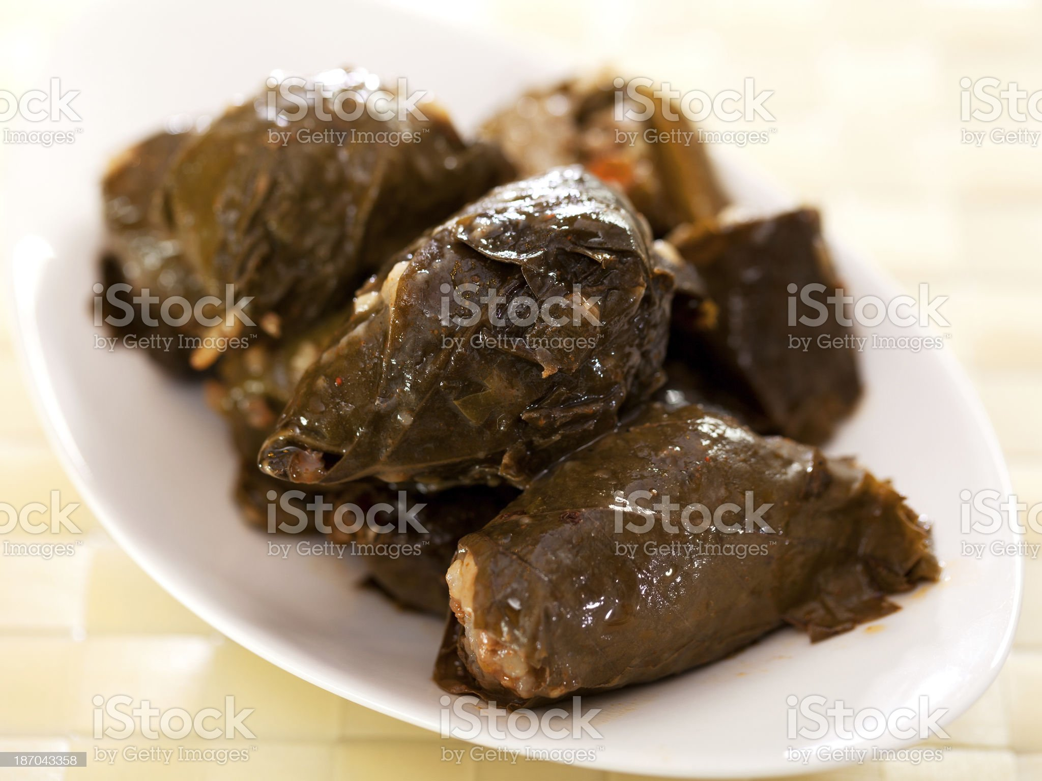 Bulgarian cuisine - stuffed grape leaves royalty-free stock photo