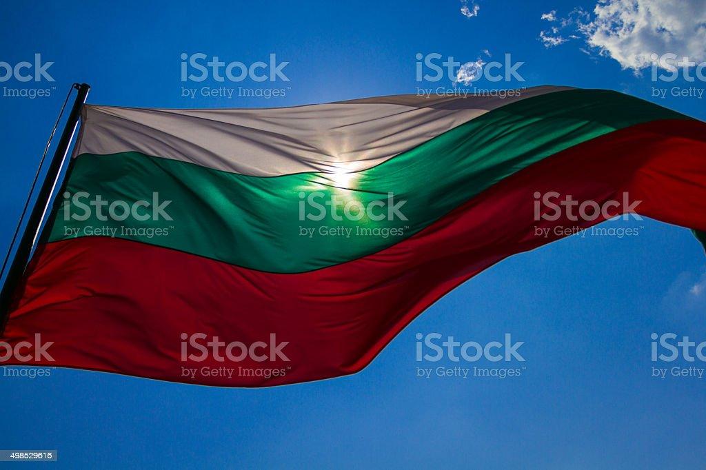 Bulgarian flag in the sun stock photo