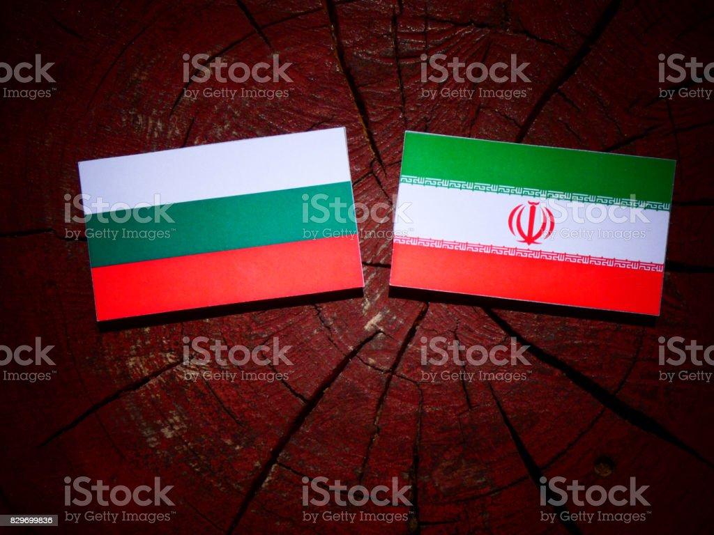 Bulgarian flag with Iranian flag on a tree stump isolated stock photo