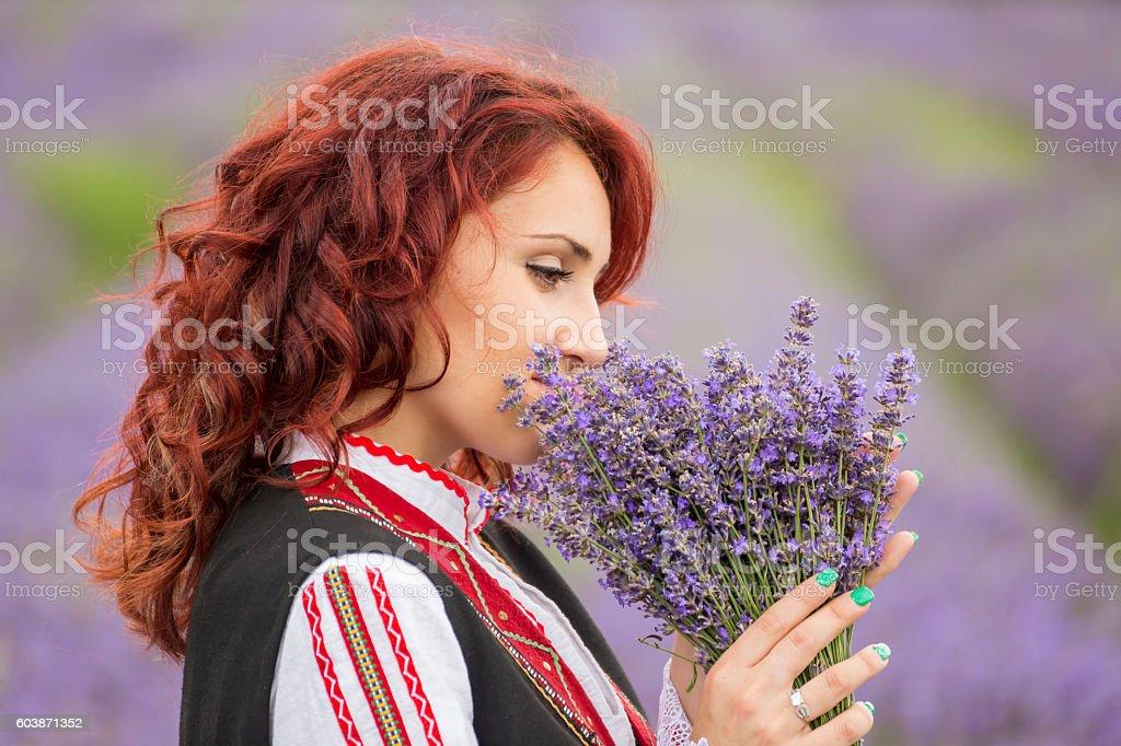 Bulgarian girl in a lavender field stock photo