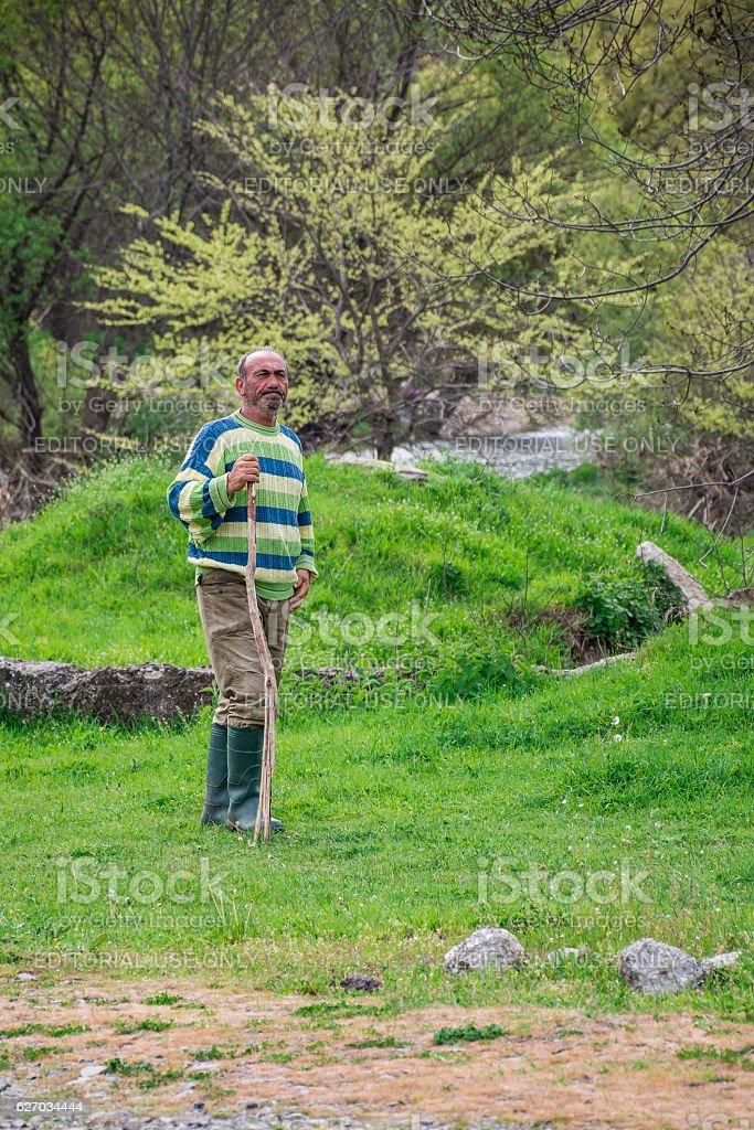 Bulgarian herdsman with bludgeon  field - 09-04-2016 - Bistrets, Bulgaria stock photo