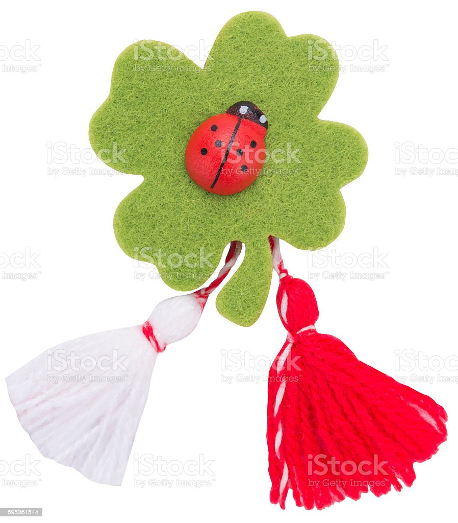 Bulgarian Martenitsa. It is a small piece of adornment. stock photo