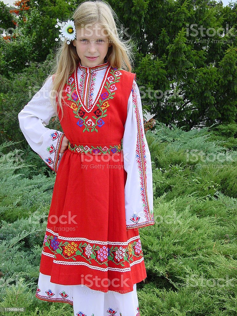Bulgarian national Vestito folk foto stock royalty-free