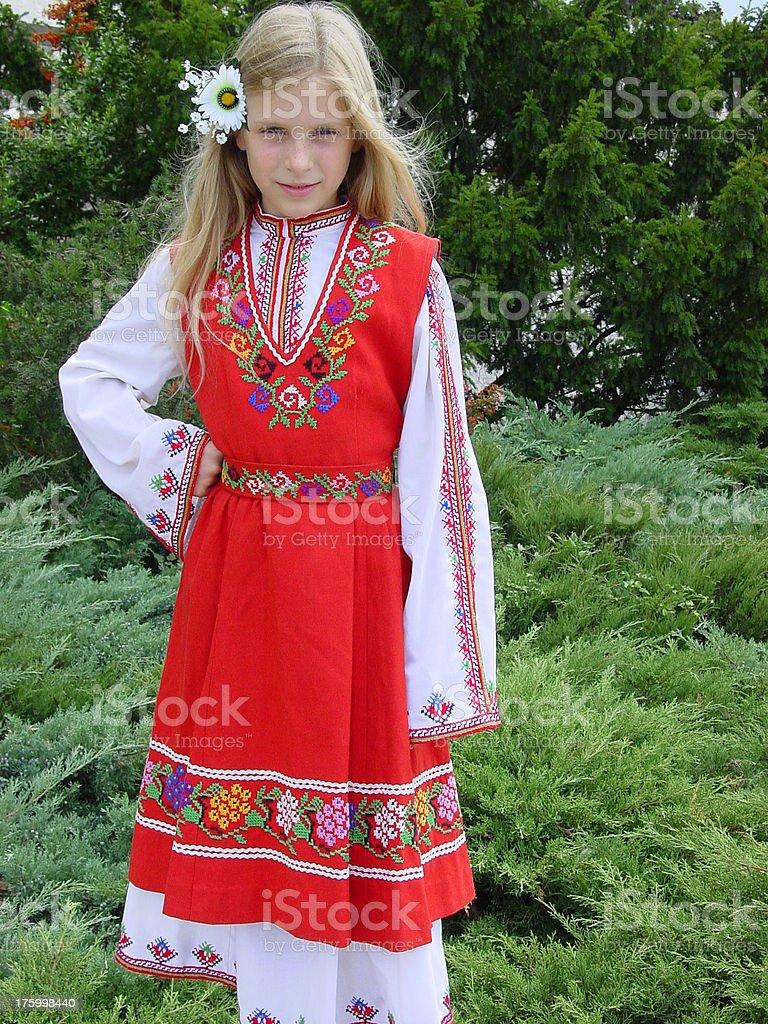 Bulgarian national folk dress stock photo