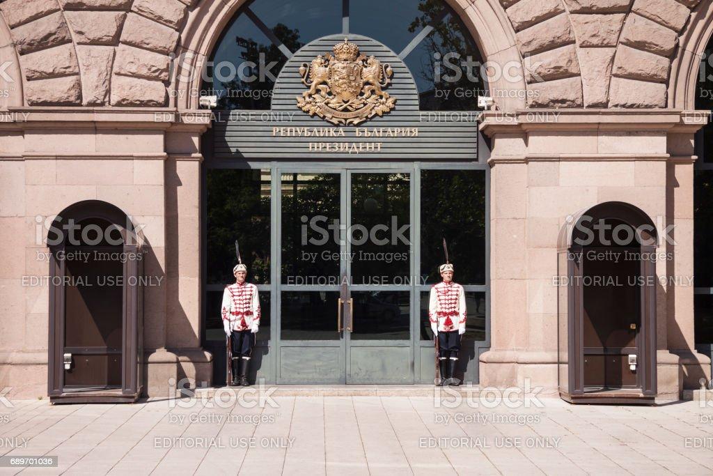 Bulgarian presidential guard in traditional uniform stock photo