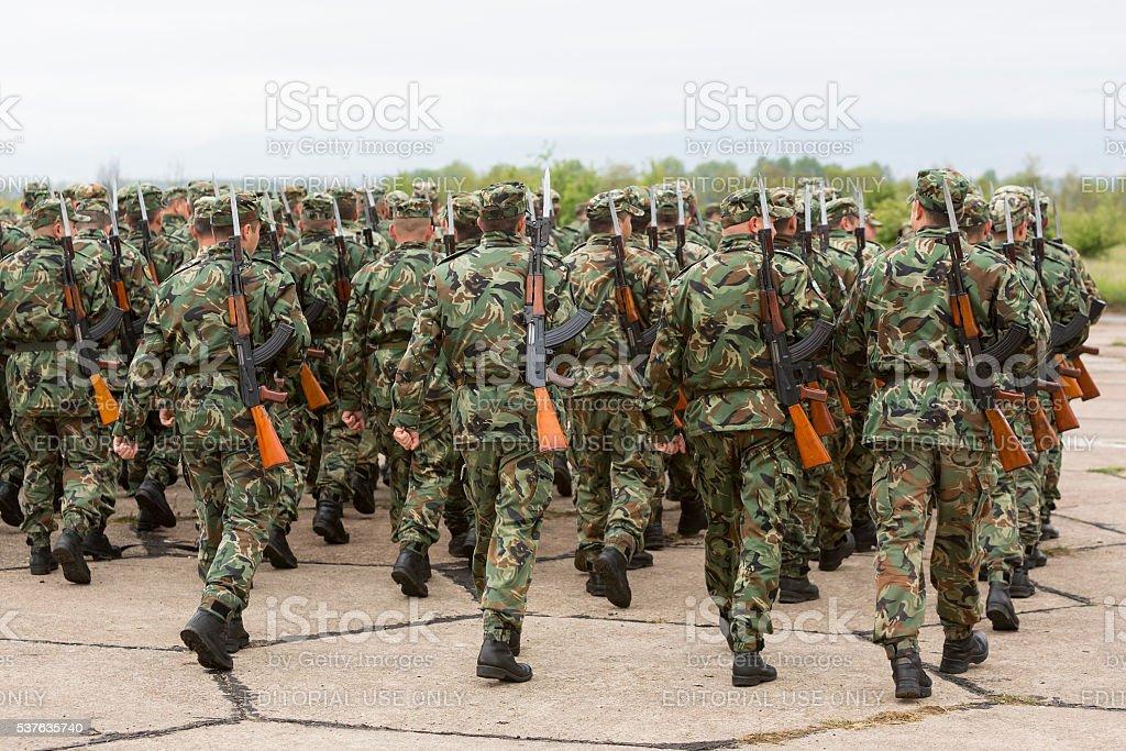 Bulgarian soldiers in uniforms with Kalashnikov AK 47 rifles stock photo